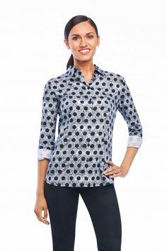 Foxcroft Crosshatch Dots Blouse | Foxcroft Clothing