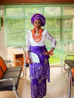 Nigerian Wedding: Delta Bride + Rivers Groom by Bk Concept - KnotsVilla. Purple and white. Coral beads