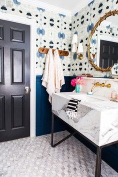Fun blue print, floors, dark door (but with a not so chunky sink)