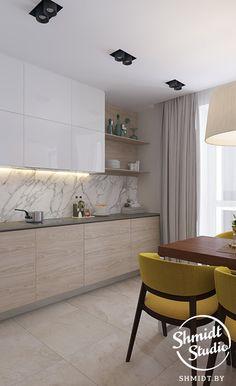 21 veces he visto estas serenas cocinas modernas. Grey Kitchen Designs, Kitchen Room Design, Contemporary Kitchen Design, Home Room Design, Kitchen Cabinet Design, Home Decor Kitchen, Interior Design Kitchen, Home Kitchens, Apartment Kitchen