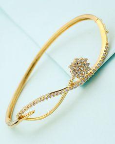 Lovely Cuff Bracelet With CZ Sparkling