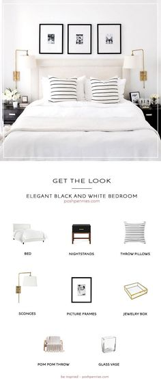 Trendy Bedroom Black And White Furniture Headboards White Bedroom Decor, Home Decor Bedroom, Bedroom Ideas, Diy Bedroom, Bedroom Inspiration, Neutral Bedrooms, Master Bedroom, Design Bedroom, Bed Room White