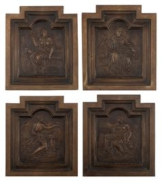Four patinated basso-relievo worked bronze plaques, each