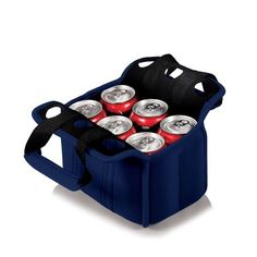 Six Pack Cooler Tote - Navy Blue. When planning to enjoy beverages away from home, the Six Pack is the perfect way to carry them to your destination. The Six Pack is an insulated beverage carrier that fits most water, beer, and soda in bottles or cans up to 20 oz., allowing you to carry an assortment of beverages. It is made of durable neoprene and features a front pocket and reinforced handles.