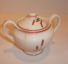 Universal Cambridge Cattail SUGAR BOWL WITH LID Camwood Ivory
