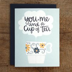 Cup of Tea Illustrated Card van 1canoe2 op Etsy, $4.50