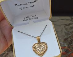 DANECRAFT 24K Gold Sterling Silver Pendant Necklace Mothers Day MADISON STUDIO #Danecraft #PendantMadisonStudio
