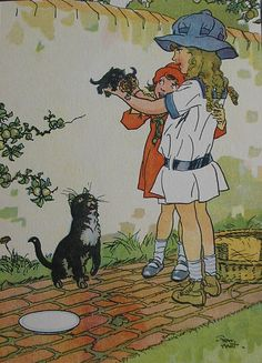 CAT and her KITTENS - Original Vintage Childrens Print by Frank Hart from 1921 - Matted - Ready to Frame