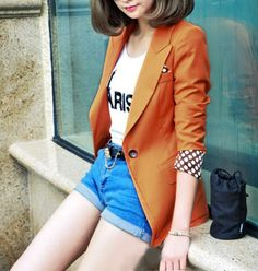 Women's Blazer with Turn-up Polka Dots Sleeves
