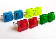 Limited- Little Square Gem Stud Earrings :) made with LEGO bricks. $7.99, via Etsy.