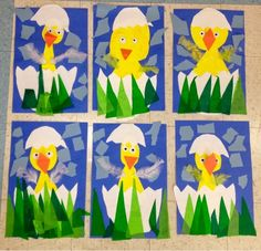 Kindergarten Spring Chick Collage-Art with Mr. Giannetto blog