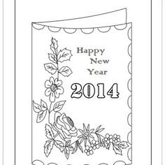 New Year Coloring Pages | Card Happy New Year Coloring Pages - New