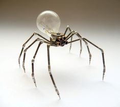 Mechanical Spider Sculpture No 7 by artist Justin Gershenson-Gates. Recycled watch parts, clockwork arachnid figurine stems, lightbulb. via amechanicalmind on Etsy. Steampunk Kunst, Steampunk Artwork, Old Watches, Dieselpunk, Steampunk Fashion, Altered Art, Metal Art, Light Bulb, Sculptures