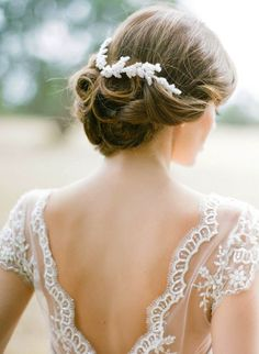 I love this pretty bridal updo, finished off perfectly by that headpiece from Percy Handmade.... Photography by Jemma Keech Photography Hair by Rebekah Clarke