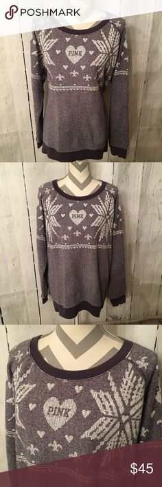 Victoria Secret Pink Snowflake Sweatshirt Very nice oversized snowflake sweatshirt. Size medium but fits loose. Heathered purple and white. In great shape.   Happy to answer questions. Check out my other items, they can be bundled to save $$.   Clean, non smoking home. PINK Victoria's Secret Tops Sweatshirts & Hoodies