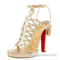 Gold Christian Louboutin Exclusive Salsbourg 120 Suede Sandal...