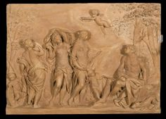 Terracotta relief depicting 'The Judgment of Paris': Italian, Bologna, by Giuseppe Mazza, Judgement Of Paris, Relief, Porcelain Ceramics, Bologna, Terracotta, Carving, Sculpture, Statue, Porcelain