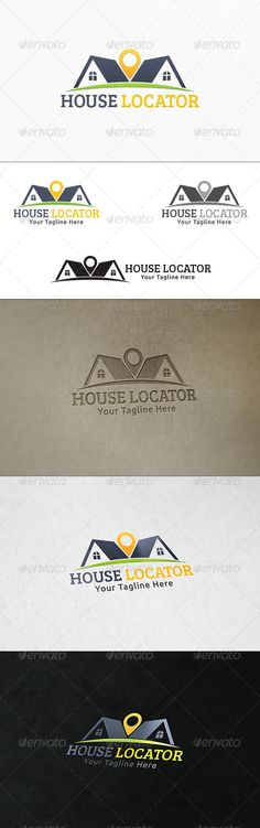 House Locator - Logo Template by martinjamez Logo Vector Color Variations : Gradient, Flat, Greyscale & Black File Format :AI & EPSColor Mode :CMYKFont used : Bre Logo Design Template, Logo Templates, Building Logo, Real Estate Logo Design, Logo Maker, Home Logo, Business Logo, Logo Inspiration, Design Art
