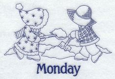 Sunbonnet Sue and Fishermen Fred on Monday (Bluework)