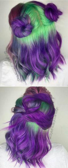 New Hair Dyed Green Purple Ideas Purple And Green Hair, Green Hair Dye, Dyed Hair Purple, Dyed Hair Pastel, Pastel Purple, Short Dyed Hair, Dyed Hair Ombre, Dye My Hair, Ombré Hair