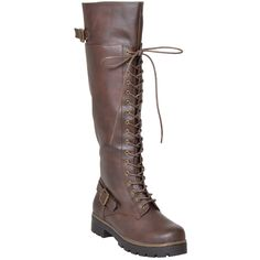 Womens Knee High Boots Accented Ankle Chain Lace Up Combat Boots Brown RP By KSC