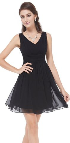 Black Sleeveless v-neck short party and bridesmaids dress. Not padded. Unique ruched waist design creates an elegant silhouette. Simple, versatile design makes this dress appropriate for nearly any occasion. // http://www.cutedresses.co/go/Short-Sleeveless-Empire-Waist-Bridesmaids-Dress