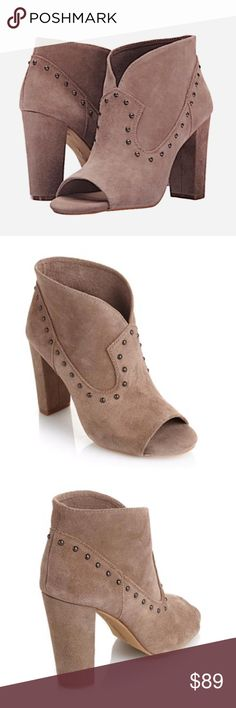 ✨NIB✨ Vince Camuto Suede Studded Peep Toe Booties Brand new in box! Vince Camuto taupe peep toe booties. Genuine suede. Pull on style. Color is Taupe, a mix of gray and tan. 4 inch chunky heel. ***No Trades*** Vince Camuto Shoes Ankle Boots & Booties