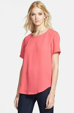 Tildon Woven Curved Hem Tee available at #Nordstrom
