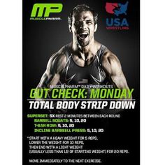 @usawrestling Gut Check Workout of the Day Presented by #MusclePharm Tag a friend and start the week off right!