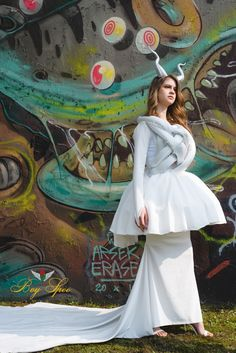 Boy Spee  The Frustration Dress #BoySpee #Boy #Spee #White #Dress  #Fashion #Horns #Demon #Female #Model #Future #Couture #Fantasy
