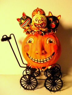 A pumpkin carriage full of Halloween mischiefmakers by Tammy Strum, Light and Shadow Studio Halloween Vintage, Vintage Halloween Decorations, Halloween Items, Halloween Cat, Holidays Halloween, Halloween Pumpkins, Happy Halloween, Halloween Images, Samhain