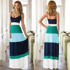 fbadeaf1483aed Light blue Women Fashion Round Neck Sleeveless Backless Strap Stripe  Patchwork Contrast Color Long Maxi A-Line Casual Dresses