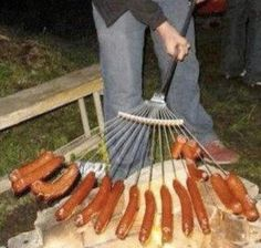Nice grilling idea-- perfect for a bonfire with big groups. All you need is a clean rake, hot dogs, fire pit and people to enjoy it with.