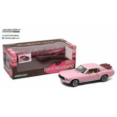 1:18 1967 Ford Mustang Coupe - Pink with Luggage Rack & Luggage