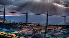 Millau Viaduct  #Clouds #Landscape #Millau #Sunrays #Viaduct