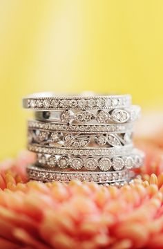 pretty stacking diamond rings