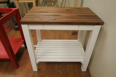 White Kitchen Cart with Butcher Block Walnut Top by McClure Tables. Made in the USA