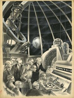 """Original interior art by Frank R. Paul for the story """"Warning to all…"""", Science Fiction Plus magazine , 1953. http://www.ha.com/c/search-results.zx?Nf=ArtistID%7CBTWN+500200537+500200537&Ne=156&N=790+158+159"""