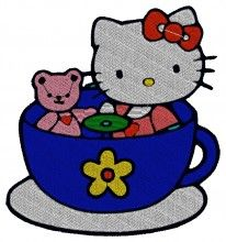 Tea Time Kitty Embroidery Design brother pe700 embroidery machine memory cards