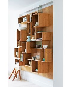 bamboo kitchen shelves ... I want to do something similar with wooden wine crates I have been collecting would be great in a den or family room