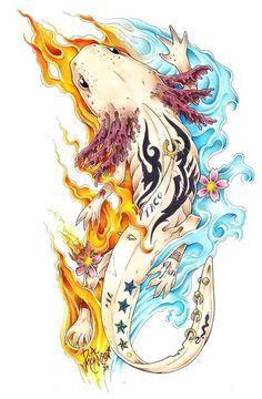 Animal Drawings, Art Drawings, Axolotl Cute, Character Art, Character Design, Dragon Illustration, Mexico Art, Illustrations, Fantasy Creatures