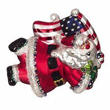 "Christmas ornament  SC glass super USA Santa Claus with American flag patriotic 5""   $9.99"