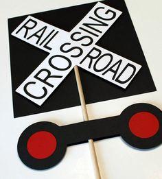 railroad crossing diy birthday   Train Birthday Party Railroad Crossing Sign by mlewis117 on Etsy