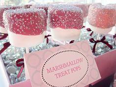 marshmallow treat pops.  i also like covering the styrofoam tray with beads