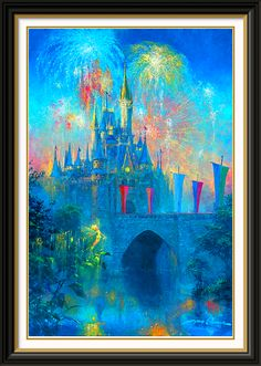 Disney Art—Castle with Fireworks. I could fill my house with this stuff.