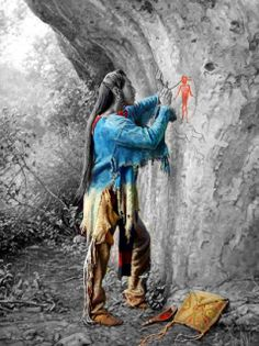 Madre Tierra - (Mother Earth) Native American painting with red ochre, on a cliff wall. Native American Paintings, Native American Pictures, Native American Beauty, American Spirit, Native American Tribes, American Indian Art, Native American History, American Indians, Native Indian