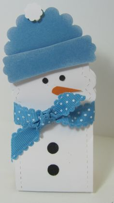 Two Tag Snow Man Candy Holder