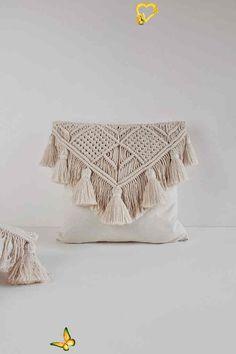 Macrame Pillow / Throw Pillow / Decorative Pillow / Modern | Etsy  <br> Diy Pillows, Decorative Pillows, Throw Pillows, Bedroom Decor For Couples, Diy Bedroom Decor, Diy Deco Rangement, Bohemian Decorating, Macrame Design, Macrame Projects