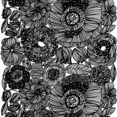 Aino-Maija Metsolan suunnittelema näyttävä Kurjenpolvi-kuosi ihastuttaa taidokkailla viivapiirroksillaan. Kaunis musta-valkoinen kuosi huokuu kukkien elinvoimaa.