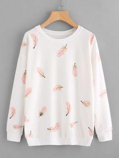 Feather Print Sweatshirt -SheIn(Sheinside)